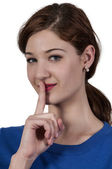 Woman Saying Be Quiet — Stock Photo