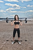 Woman Working with Weights — Stock Photo