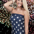 Stock Photo: Womat Fireworks in Flag