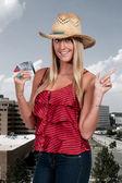 Woman Holding 100 Dollar Bills — Stock Photo