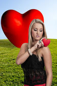 Valentines Day Heart Woman — Foto de Stock