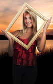 Woman in a Frame — Stock Photo