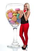 день святого валентина сердце женщина — Стоковое фото