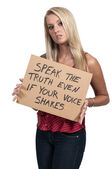 Woman Holding an Inspirational Sign — Stock fotografie