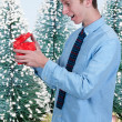 Man Holding Gift — Stock Photo