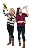 Kvinnor med vin — Stockfoto