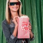 Beautiful Woman Watching 3D Movie — Stock Photo