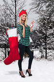 Beautiful Woman Holding Gifts — Стоковое фото
