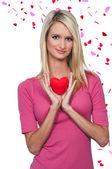 Valentýn srdce žena — Stock fotografie