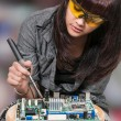 Stock Photo: Womsoldering