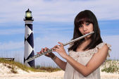 Woman Flutist — Stock Photo