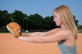 Woman Baseball Player — Stock Photo