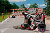 мотокросс мотоциклов девушка — Стоковое фото