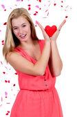 Mulher de coração dia dos namorados — Foto Stock