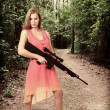 Stock Photo: Womwith Assault Rifle