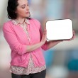 Woman Holding a Blank Sign — Stock Photo #41828747