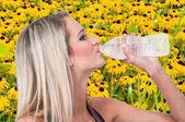 Woman Drinking Water — Stock Photo