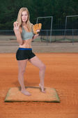 Woman Baseball Player — Stockfoto