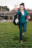 女性のフットボール — ストック写真
