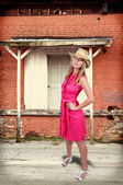 女人戴着的帽子 — 图库照片