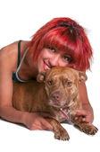 Beautiful Woman and Pit Bull mix dog — Stock Photo