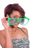 Woman with silly glasses — Stok fotoğraf