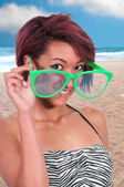 Woman with silly glasses — Stock Photo
