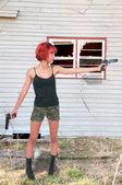 Donna soldato — Foto Stock