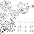 Calendar for 2013 with flowers — Stock Vector #12721080