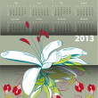 Calendar for 2013 with flowers — Stock Vector