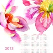 Dahlia flowers, calendar for 2013 — Stock Photo