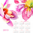 Dahlia flowers, calendar for 2013 - Stock Photo