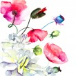 Watercolor illustration with beautiful flowers - Stock Photo