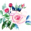 Decorative Roses flowers, Watercolor painting - Stock Photo