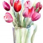 Beautiful Tulips flowers, Watercolor painting — Stock Photo #13753156