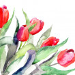 Stylized Tulips flowers illustration - Stock Photo