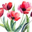 Photo: Colorful illustration of red tulips flowers