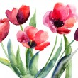 Colorful illustration of red tulips flowers - Stock Photo