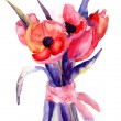 Beautiful Tulips flowers, Watercolor painting - Stock Photo