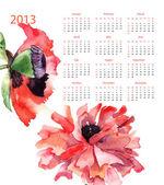 Template for calendar 2013 — Stok fotoğraf