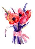 Piękne tulipany, akwarela malarstwo — Zdjęcie stockowe