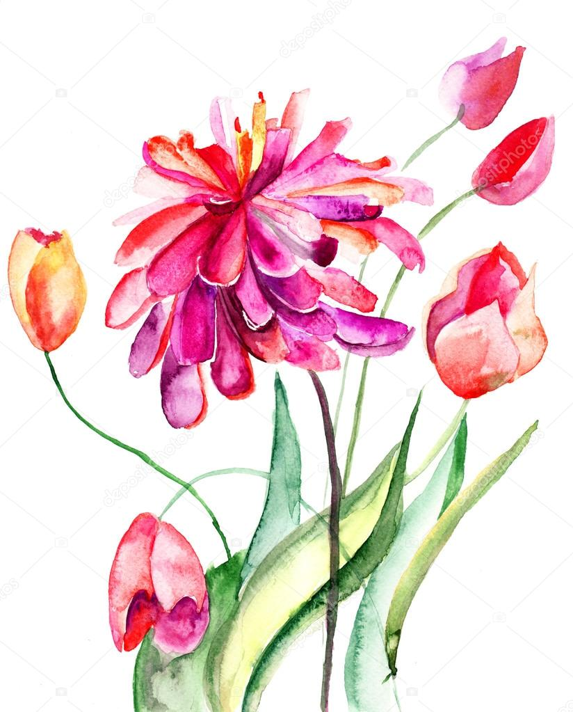 Colorful summer background with flowers. Watercolor illustration  Foto Stock #13753080