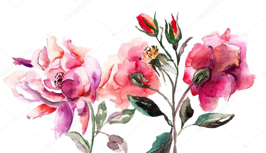 原始的水彩作品可爱百合与花瓶中的玫瑰