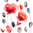 Stock Photo: Stylized Poppy flowers illustration