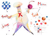 Watercolor illustration of chef — Stock Photo