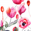 Colorful flowers, watercolor illustration — Stockfoto