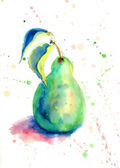 Watercolor illustration of pear — Stock Photo