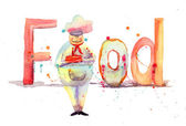 Watercolor illustration of inscription food with chef — Stock Photo
