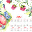 Calendar for 2013 with flowers and berries - Stock Photo