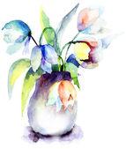 Krásné tulipány modré květy — Stock fotografie